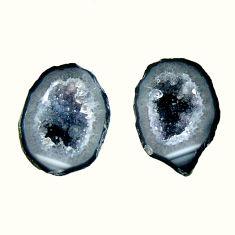 Natural 7.40cts geode druzy black 14x10 mm fancy pair loose gemstone s16494