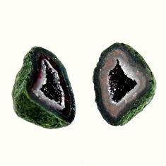 Natural 11.30cts geode druzy black 14x10 mm fancy pair loose gemstone s16500
