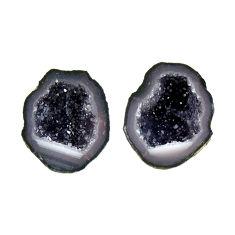 Natural 8.15cts geode druzy black 14x12 mm fancy pair loose gemstone s16490