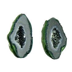 Natural 6.30cts geode druzy black 14x8 mm fancy pair loose gemstone s16540