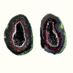 Natural 12.35cts geode druzy black 15.5x10 mm fancy pair loose gemstone s16498