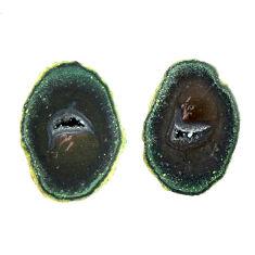Natural 11.30cts geode druzy black 15.5x11 mm fancy pair loose gemstone s16516