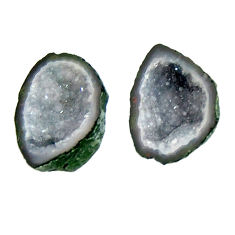 Natural 7.40cts geode druzy black 15x11 mm fancy pair loose gemstone s16489