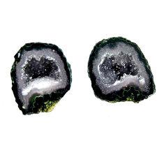 Natural 10.30cts geode druzy black 15x11 mm fancy pair loose gemstone s16505