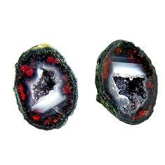 Natural 12.40cts geode druzy black 15x12 mm fancy pair loose gemstone s16492