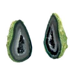 Natural 8.25cts geode druzy black 15x8.5 mm fancy pair loose gemstone s16528