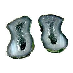 Natural 9.10cts geode druzy black 16.5x10 mm fancy pair loose gemstone s16527