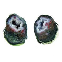 Natural 18.25cts geode druzy black 16.5x12 mm fancy pair loose gemstone s16537