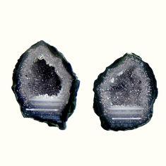 Natural 9.10cts geode druzy black 16x11.5 mm fancy pair loose gemstone s16497