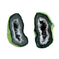 Natural 11.30cts geode druzy black 17.5x8.5 mm fancy pair loose gemstone s16535