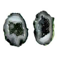 Natural 12.40cts geode druzy black 17x10.5 mm fancy pair loose gemstone s16530
