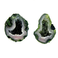 Natural 12.40cts geode druzy black 17x10.5 mm fancy pair loose gemstone s16539