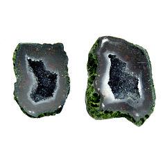 Natural 16.30cts geode druzy black 17x13 mm fancy pair loose gemstone s16534