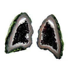 Natural 9.10cts geode druzy black 17x9 mm fancy pair loose gemstone s16506