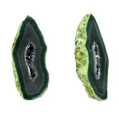 Natural 9.15cts geode druzy black 18.5x7 mm fancy pair loose gemstone s16529
