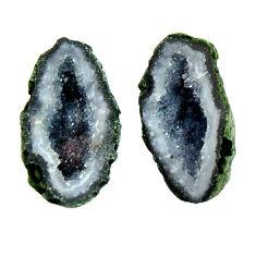 Natural 13.10cts geode druzy black 18x10 mm fancy pair loose gemstone s16510