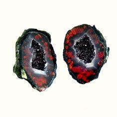 Natural 9.20cts geode druzy brown 13.5x10 mm fancy pair loose gemstone s16499