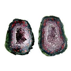 Natural 8.35cts geode druzy brown 13x10 mm fancy pair loose gemstone s16518