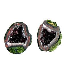 Natural 12.40cts geode druzy brown 15x12 mm fancy pair loose gemstone s16521