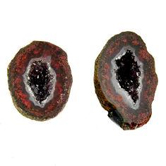 Natural 12.40cts geode druzy brown 17x10 mm fancy pair loose gemstone s16503