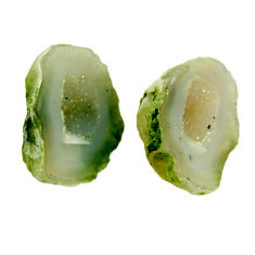 Natural 22.40cts geode druzy green 18.5x13.5 mm fancy pair loose gemstone s16522