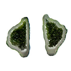 Natural 8.10cts geode druzy green 20x10 mm fancy pair loose gemstone s16523