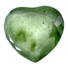 Natural 59.35cts green rutile cabochon 30x26 mm heart loose gemstone s20093