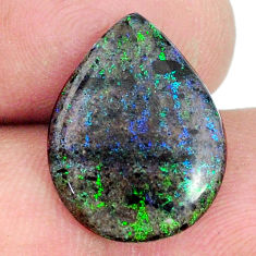 Natural 7.40cts honduran matrix opal black 18x13.5 mm pear loose gemstone s21453