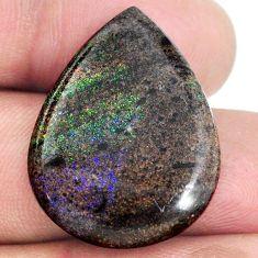 Natural 15.10cts honduran matrix opal black 28x21 mm pear loose gemstone s21436