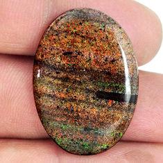 Natural 18.35cts honduran matrix opal black 30x21 mm oval loose gemstone s21422