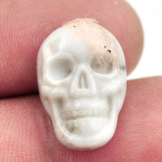 Natural 8.25cts howlite white carving 17.5x12 mm skull loose gemstone s18081