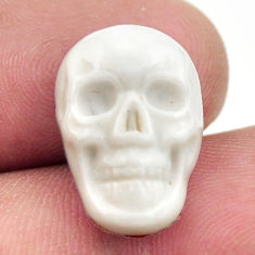 Natural 9.45cts howlite white carving 17.5x12 mm skull loose gemstone s18082