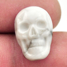 Natural 8.45cts howlite white carving 17.5x12 mm skull loose gemstone s18083