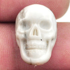 Natural 9.35cts howlite white carving 17.5x12 mm skull loose gemstone s18084