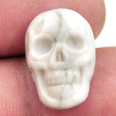 Natural 8.45cts howlite white carving 17.5x12 mm skull loose gemstone s18085