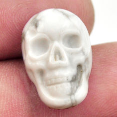 Natural 9.20cts howlite white carving 17.5x12 mm skull loose gemstone s18086