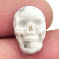 Natural 9.45cts howlite white carving 17.5x12 mm skull loose gemstone s18087