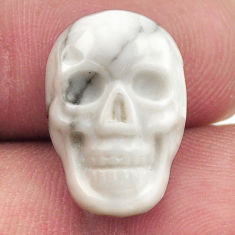 Natural 8.35cts howlite white carving 17.5x12 mm skull loose gemstone s18088