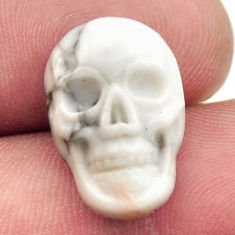Natural 8.45cts howlite white carving 17.5x12 mm skull loose gemstone s18090