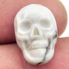Natural 9.45cts howlite white carving 17.5x12 mm skull loose gemstone s18092