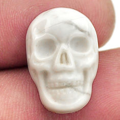 Natural 8.45cts howlite white carving 17.5x12 mm skull loose gemstone s18094
