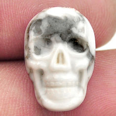 Natural 8.45cts howlite white carving 17.5x12 mm skull loose gemstone s18097