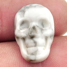 Natural 7.30cts howlite white carving 17.5x12 mm skull loose gemstone s18098