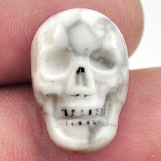 Natural 9.35cts howlite white carving 17.5x12 mm skull loose gemstone s18099