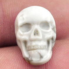 Natural 8.45cts howlite white carving 17.5x12 mm skull loose gemstone s18100