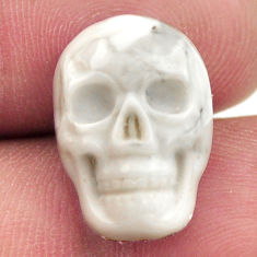 Natural 9.45cts howlite white carving 17x12 mm skull loose gemstone s18093