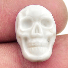 Natural 7.15cts howlite white carving 17x12 mm skull loose gemstone s18095