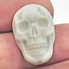 Natural 17.40cts howlite white carving 22.5x15 mm skull loose gemstone s18001