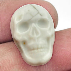 Natural 16.30cts howlite white carving 22.5x15 mm skull loose gemstone s18002