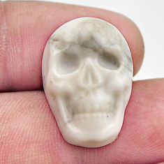 Natural 16.30cts howlite white carving 22.5x15.5 mm skull loose gemstone s18221